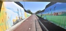 Groot panorama in fietstunnel Waddinxveen Triangel